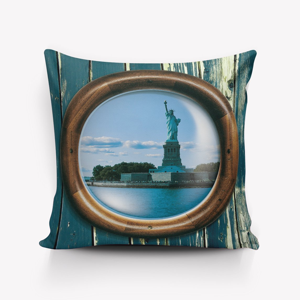Sea Porthole Window View Sail Boats sailboats Pillowcases Square Cushion Cover for Home Decor 16x16inch Two sides