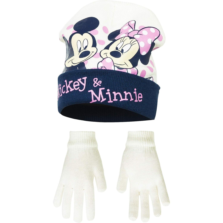 Disney Minnie Mouse Childrens Girls Mickey /& Minnie Winter Hat and Gloves Set