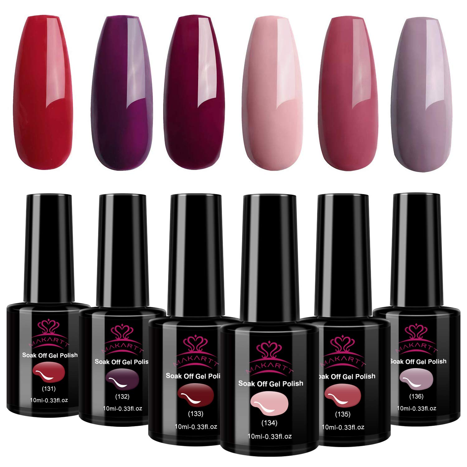 Makartt P-13 Burgundy Red Gel Nail Polish Kit 10ML 6 Bottles Pink Nude Sangria Fall Glamour Nail Gel Polish Soak Off UV LED Curing for Manicure Pedicure with Gift Box by Makartt