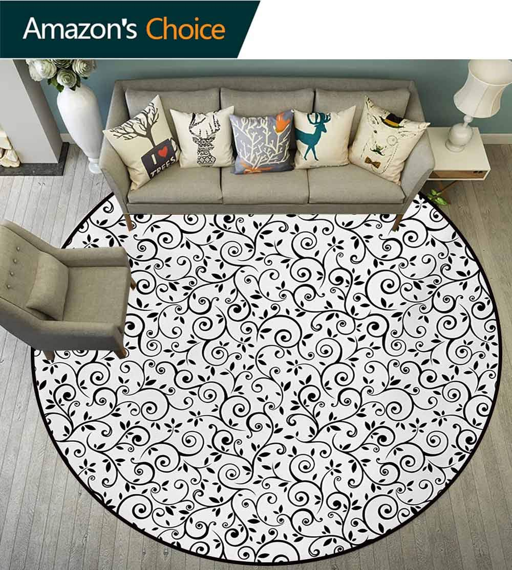RUGSMAT Floral Modern Vintage Rugs,Monochrome Branches and Leaves Design Swirls Retro Inspirations Old Fashioned Image Area Rug - Perfect for Any Place,Round-63 Inch Black White