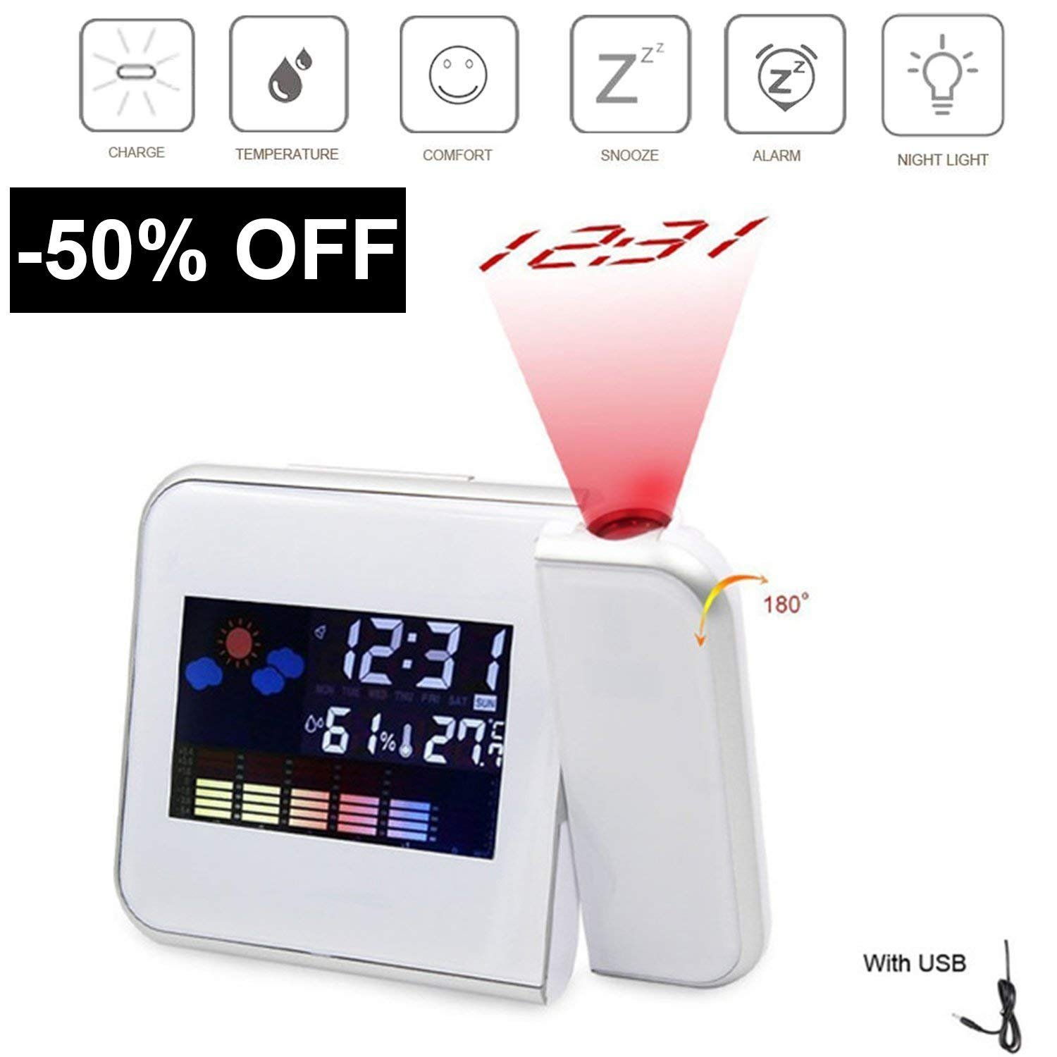 Multi-function Digital Projection Alarm Clock With Weather Station Electronic Desk Clock With Time Projection Bedside Wake Up Projector Watch (white)