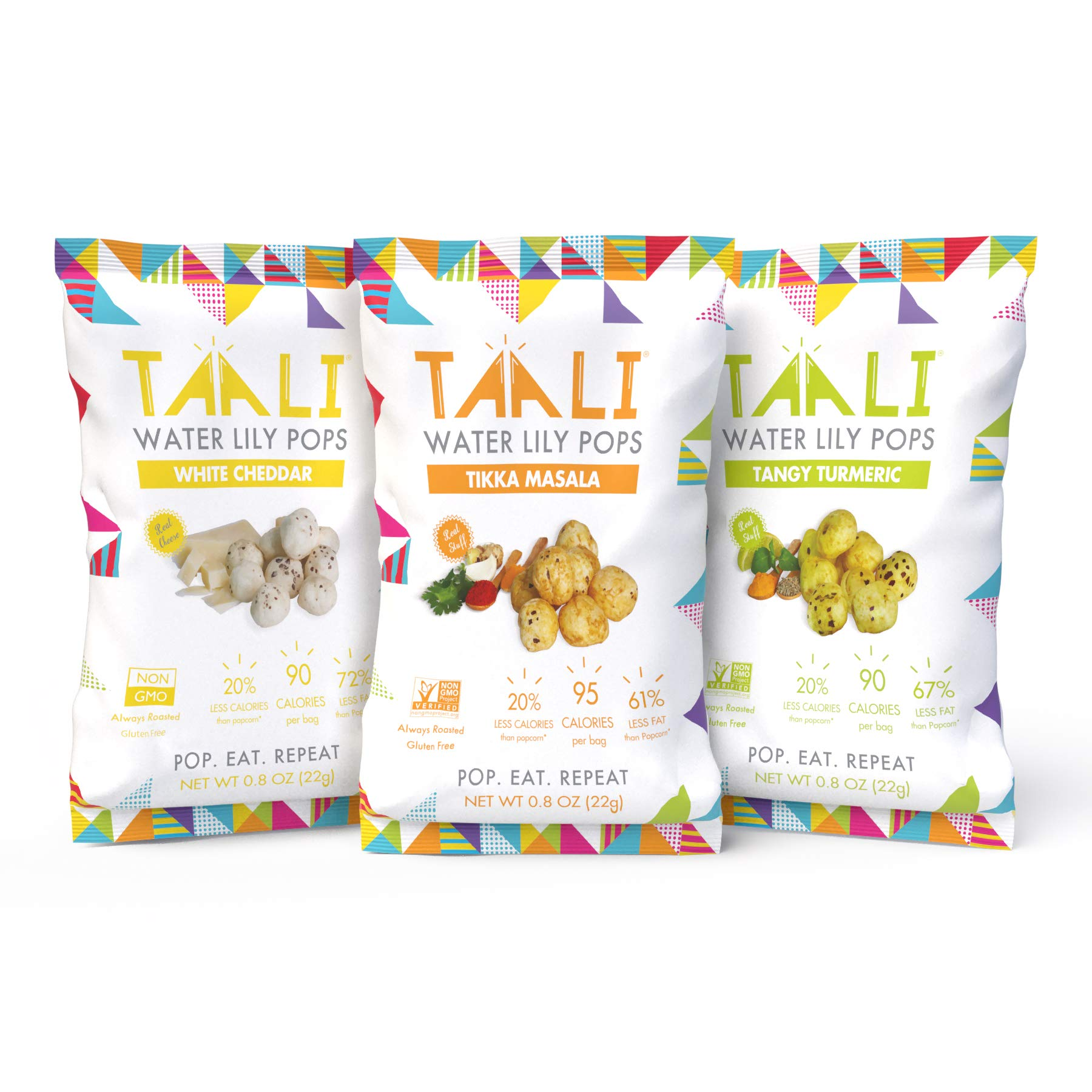 Taali Variety Pack Water Lily Pops (10-Pack) - Three Delicious Flavors | Protein-Rich Roasted Snack | Non GMO Verified - Individual 0.8 oz Bags by Taali (Image #2)