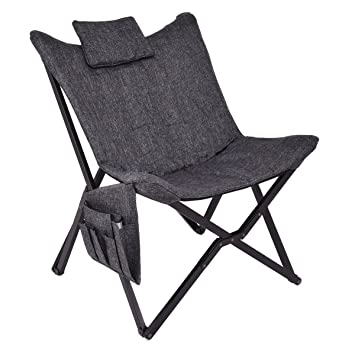 Giantex Folding Butterfly Chair Seat Wood Frame Home Office Furniture  Portable (Black)