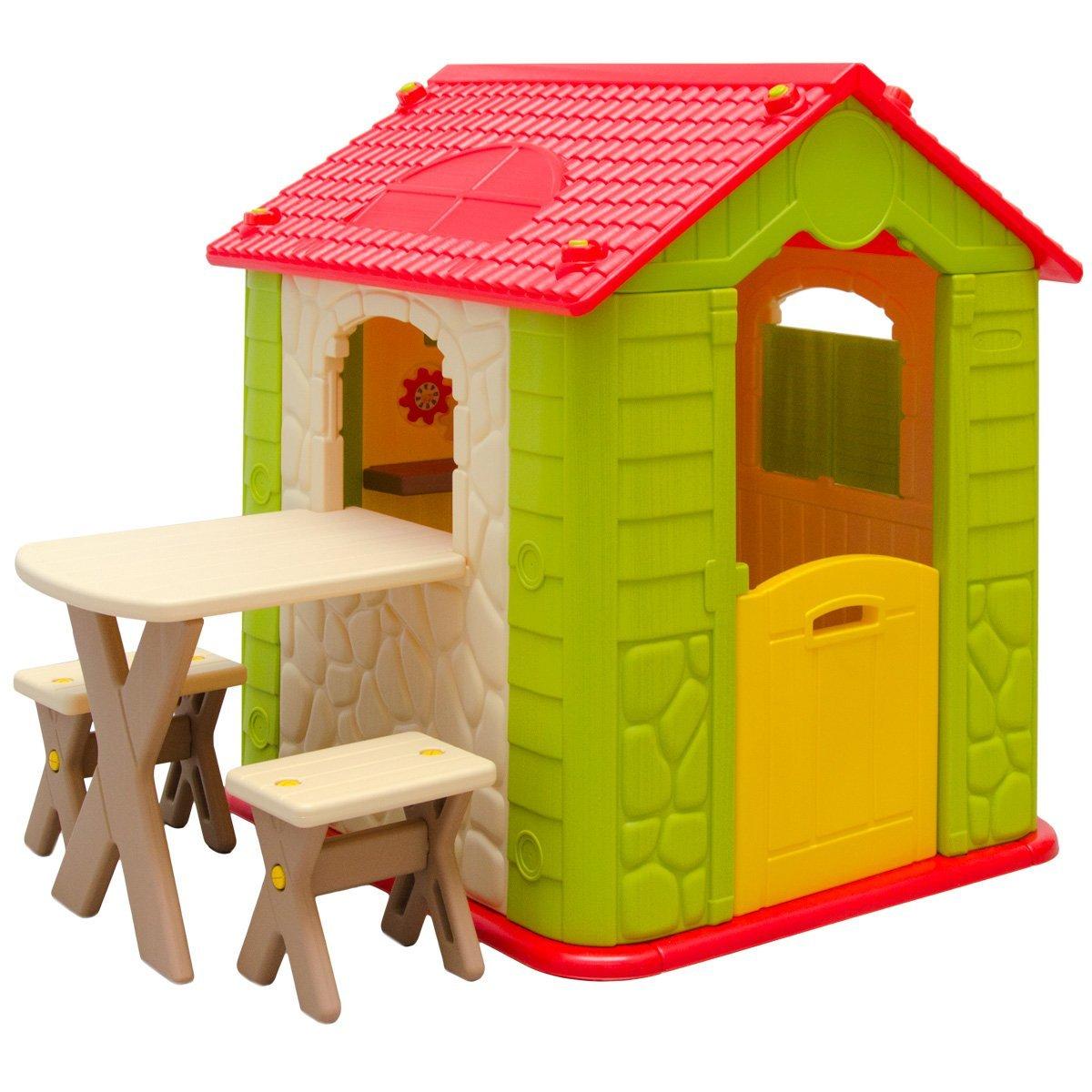eyepower Kinderspielhaus mit Tisch und 2 Bänken