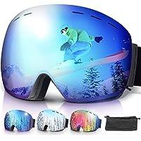 amzdeal Occhiali da Sci OTG, Maschera da Sci Snowboard Antivento Anti Fog Protezione 100% UV 400 per Uomo, Donna e Gioventù per a Snowboard, Motocross e Altri Sport Invernali