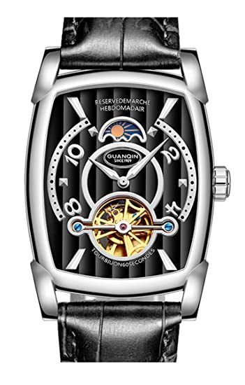 Reloj de pulsera de piel para hombre, automático, mecánico, rectangular, con esqueleto luminoso, fase lunar, resistente al agua: Amazon.es: Relojes