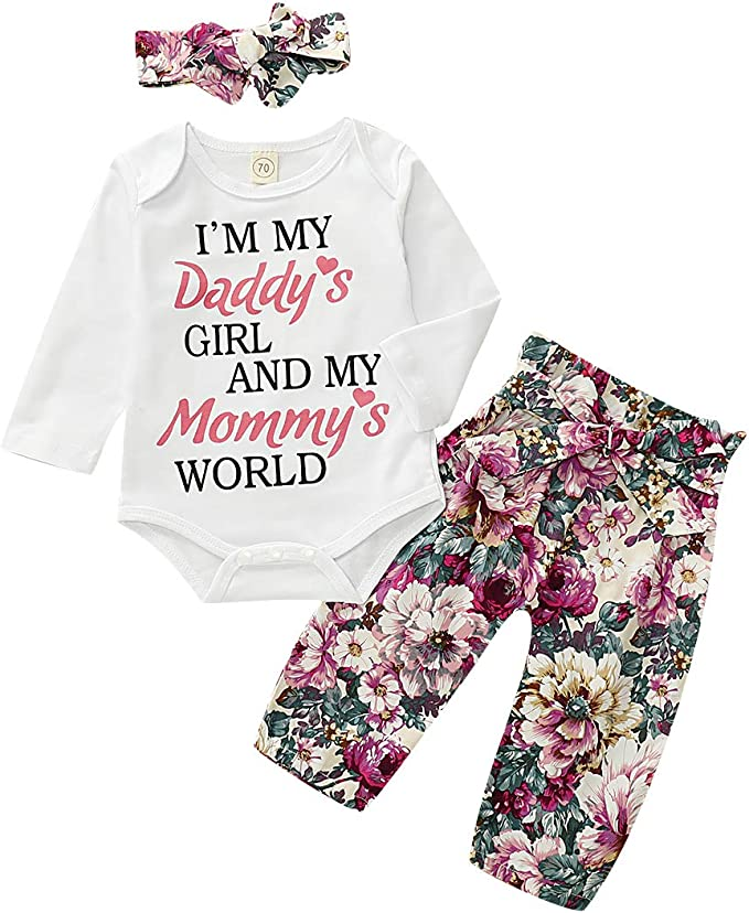 Newborn Outfits Mommy is My Bestie Baby Girl Clothes Set Floral Romper Pants with Headband