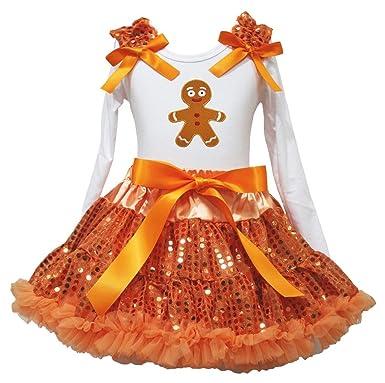 Navidad Vestido Jengibre Hombre Blanco L/S Camiseta Naranja Falda ...