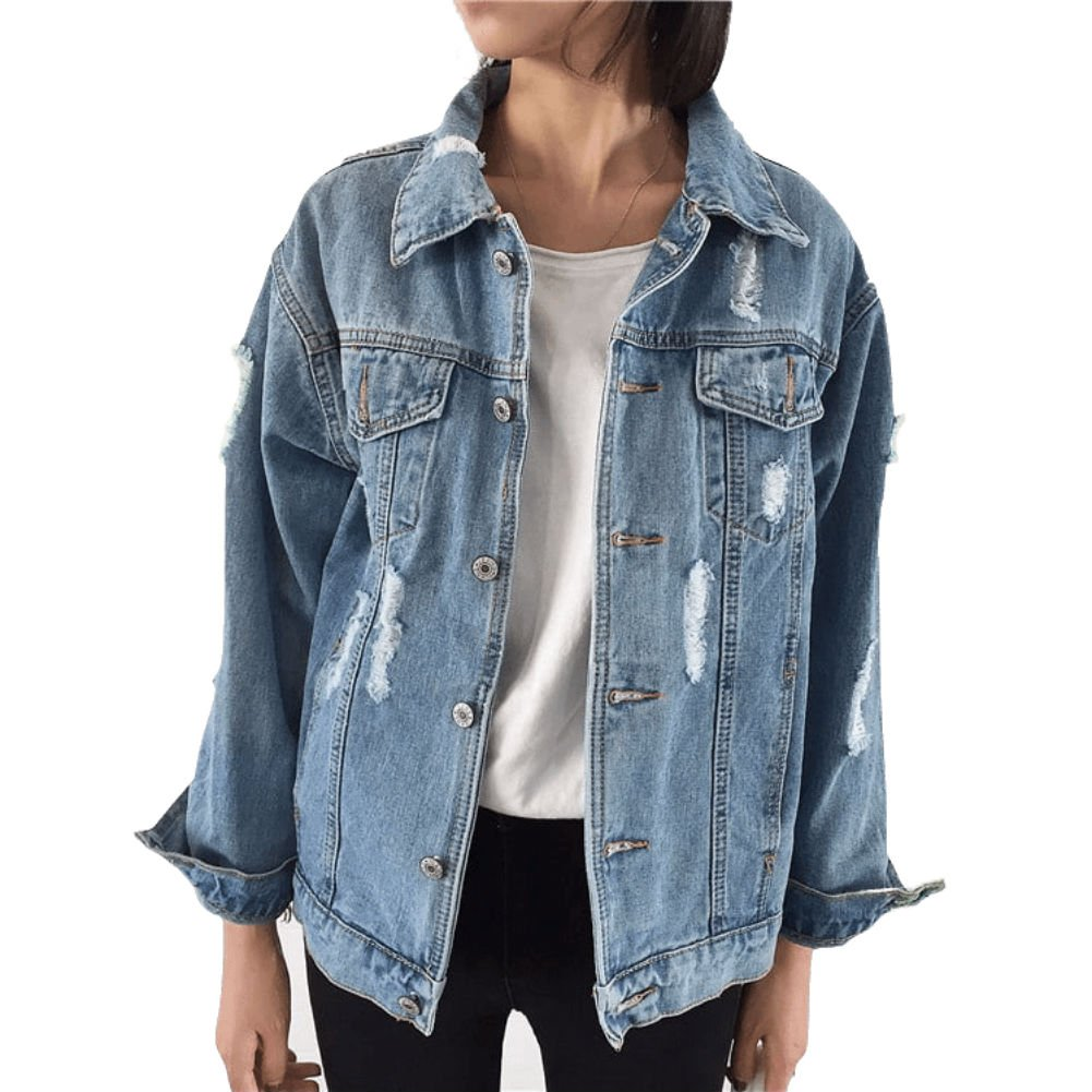 Beskie Oversized Denim Jacket for Women Destoryed Long Sleeve Boyfriend Jean Jacket Loose Coat by Beskie (Image #1)