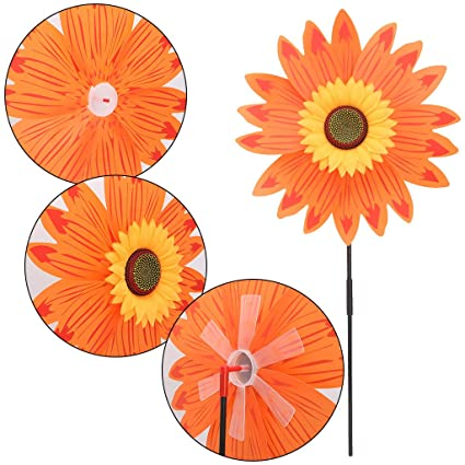 BKID Pinwheels Large Double Layer Sunflower Pinwheel Spinner Wind Windmill  Windmill Flower Windmill Kid Toy Garden
