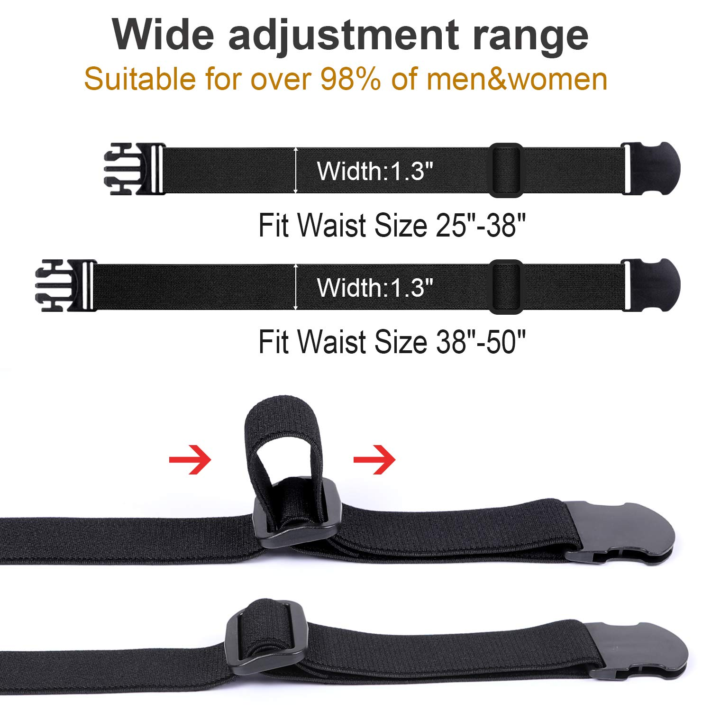 Elastic Waist Belts for Men & Women Fashion Adjustable Stretch Belt No Show Flat Buckle