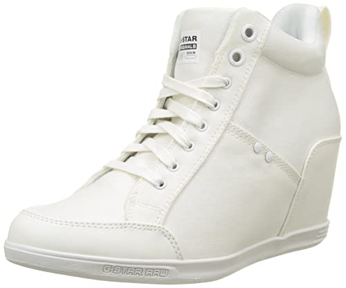 G-STAR RAW Women's New Labour Wedge Platform Heels, White (White 110)