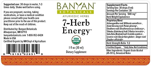 Banyan Botanicals 7 Herb Energy – Organic Liquid Extract – 1 oz – Caffeine-Free, Natural Energy Support **