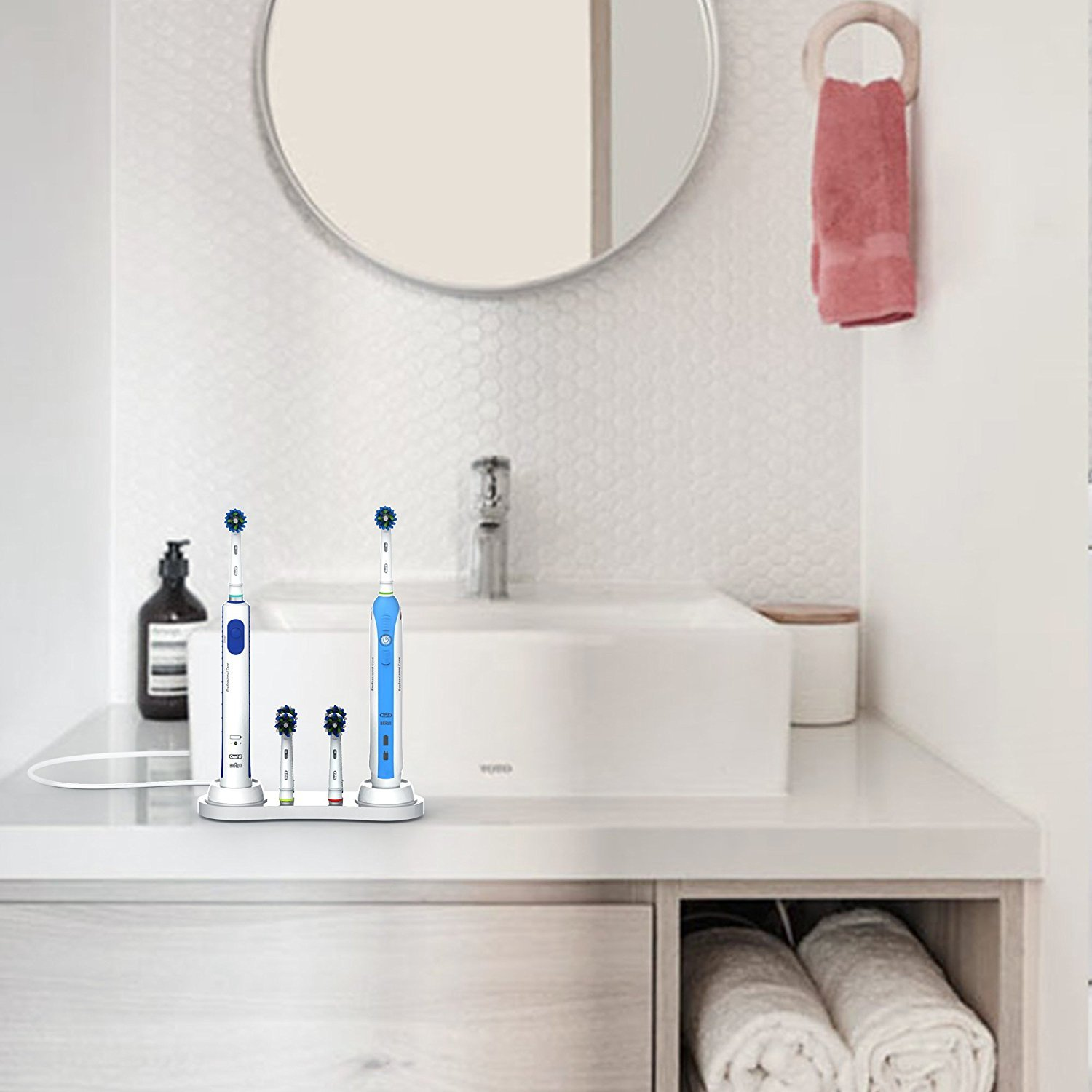 Itian Electric Toothbrushes Stand For Oral-B 4 Toothbrush Head Holders With Electric Toothbrush Stand And Electric Toothbrush Charger Holder