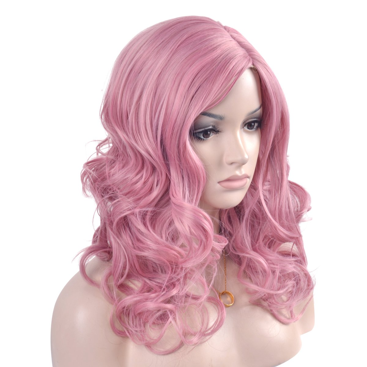 eNilecor Long Pink Wavy Curly Wigs Women Charming Synthetic Heat Resistant Cosplay Hair Wig (20\