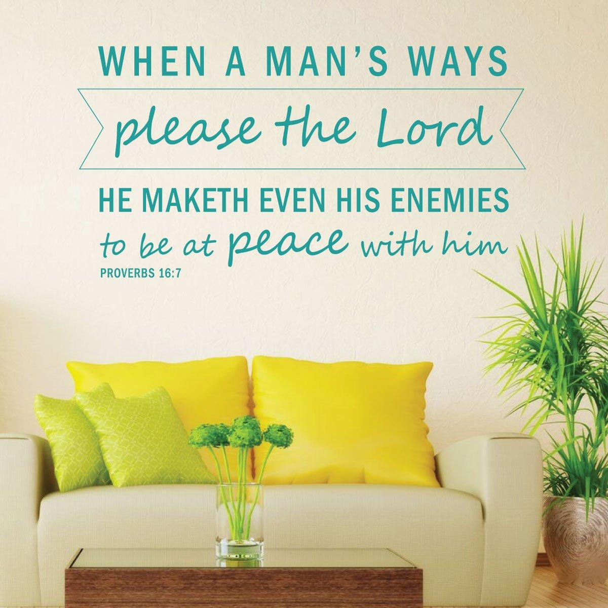 Amazon.com: Bible Verse Wall Art - Proverbs 16:7 Wall Decal - When a ...