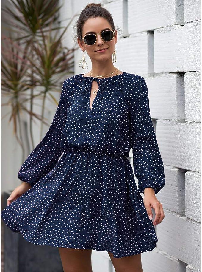 Maxi Manches de Robe Femme Imprimé Léopard HOUMENGO Longues 6gf7byIYvm