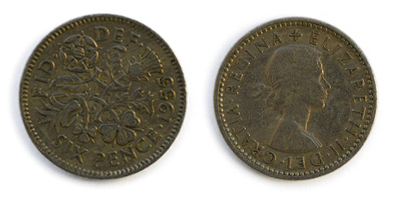 Six Pence 1955 circolavano britannico Sixpence Monete da collezione