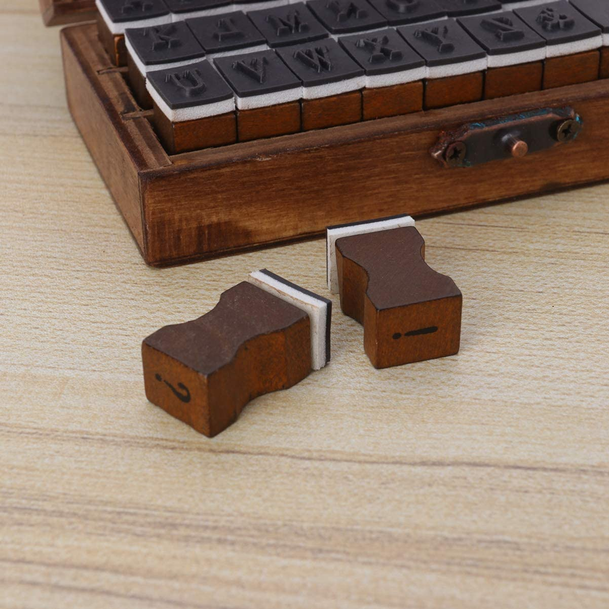 Crafts Card Making SUPVOX 30pcs Rustic Letter Stamps Alphabet Stamps Wood Rubber Stamps Symbol Stamp with Wooden Box for Scrapbook