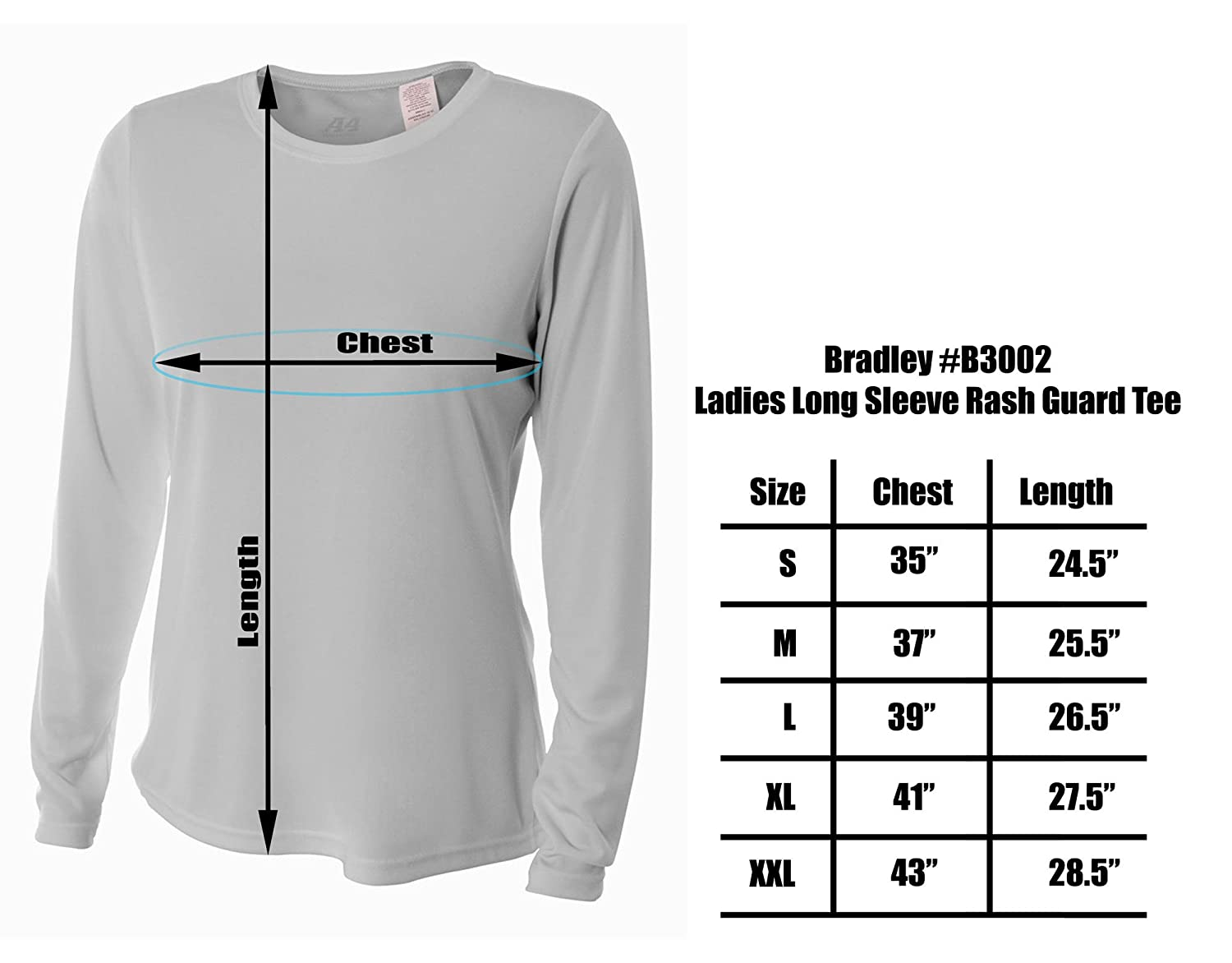 c55bc596 Bradley Women's Casual Fit Long Sleeve Rash Guard Swim Shirt with UV  Protection at Amazon Women's Clothing store: