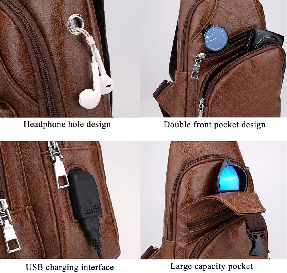 Bandolera para hombre, bolso bandolera de cuero de PU informal elegante y resistente al agua con puerto de carga USB Mochila de hombro en el pecho, se