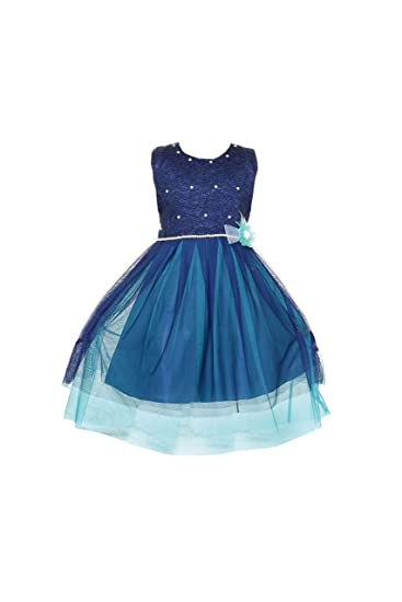 373a39171 YAYAVAR Girls Net Made Navy Blue   Green Colored Designer Frock for Girls -  Set of 01 from 02-10 Years  Amazon.in  Clothing   Accessories