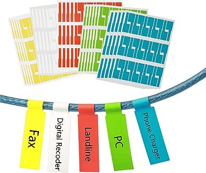Zoomsky 750er Selbstklebend Kabeletikett 25 Blätter Kabelaufkleber Kabelkennzeichnung Sortiert In 5 Farben Wasserdicht Reißfest Haltbar Bedruckbar Für Laserdrucker Bürobedarf Schreibwaren