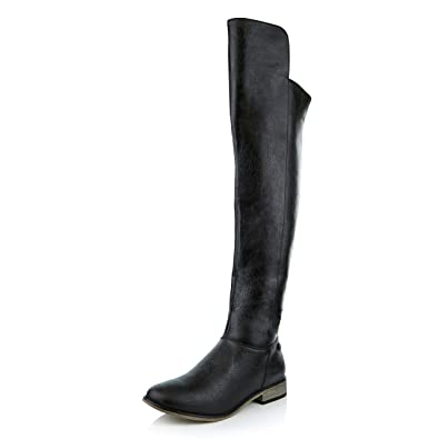 7cd795da133 DailyShoes Women s Ankle Zipper Round Toe Pull up Over The Knee Calf  Western Cowboy Thigh High