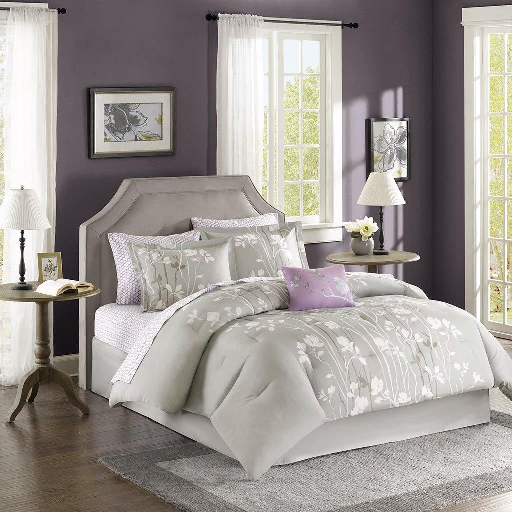 Madison Park Essentials Vaughn Full Size Bed Comforter Set Bed In A Bag - Grey Purple, Floral – 9 Pieces Bedding Sets – Ultra Soft Microfiber Bedroom Comforters