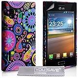LG Optimus L5 E610 Tasche Silikon Qualle Hülle - Mehrfarbig