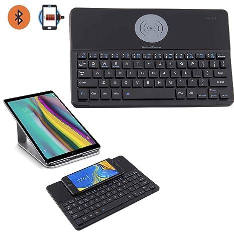 X-Tab Bluetooth Tastatur für Lenovo TAB3 10 Plus TB3-X70F - 2in1 Wireless Ladegerät Qi Ladestation für Handy - WCT Schwarz