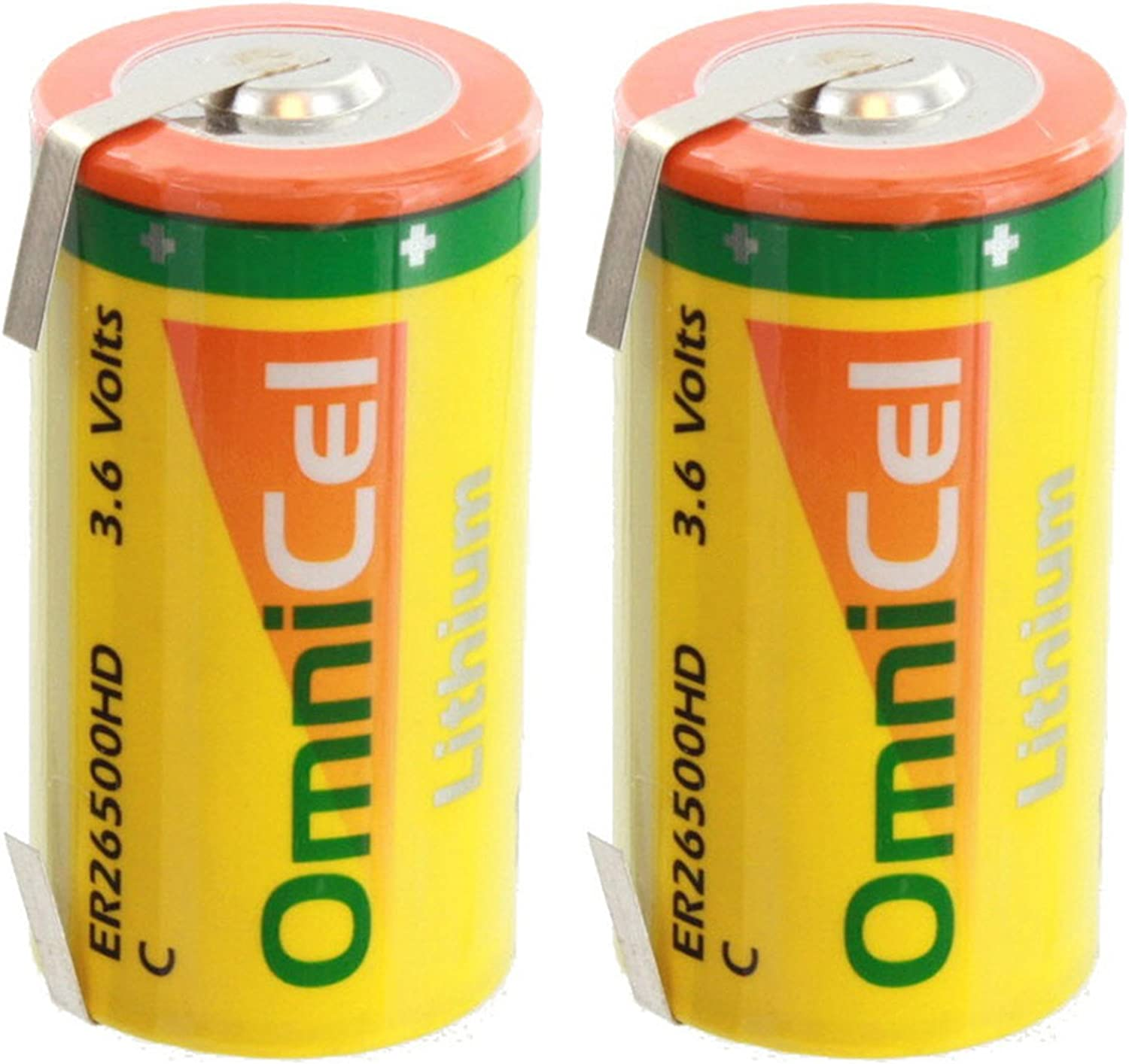 2x OmniCel ER26500HD 3.6V 6.5Ah Size C Lithium Battery with Tabs For Tracking Devices for Hunting Dogs, Carbon Monoxide Detectors, Intrusion Sensors, Invisible Fencing,Smart Utility Metering 71aMwnkvL6L