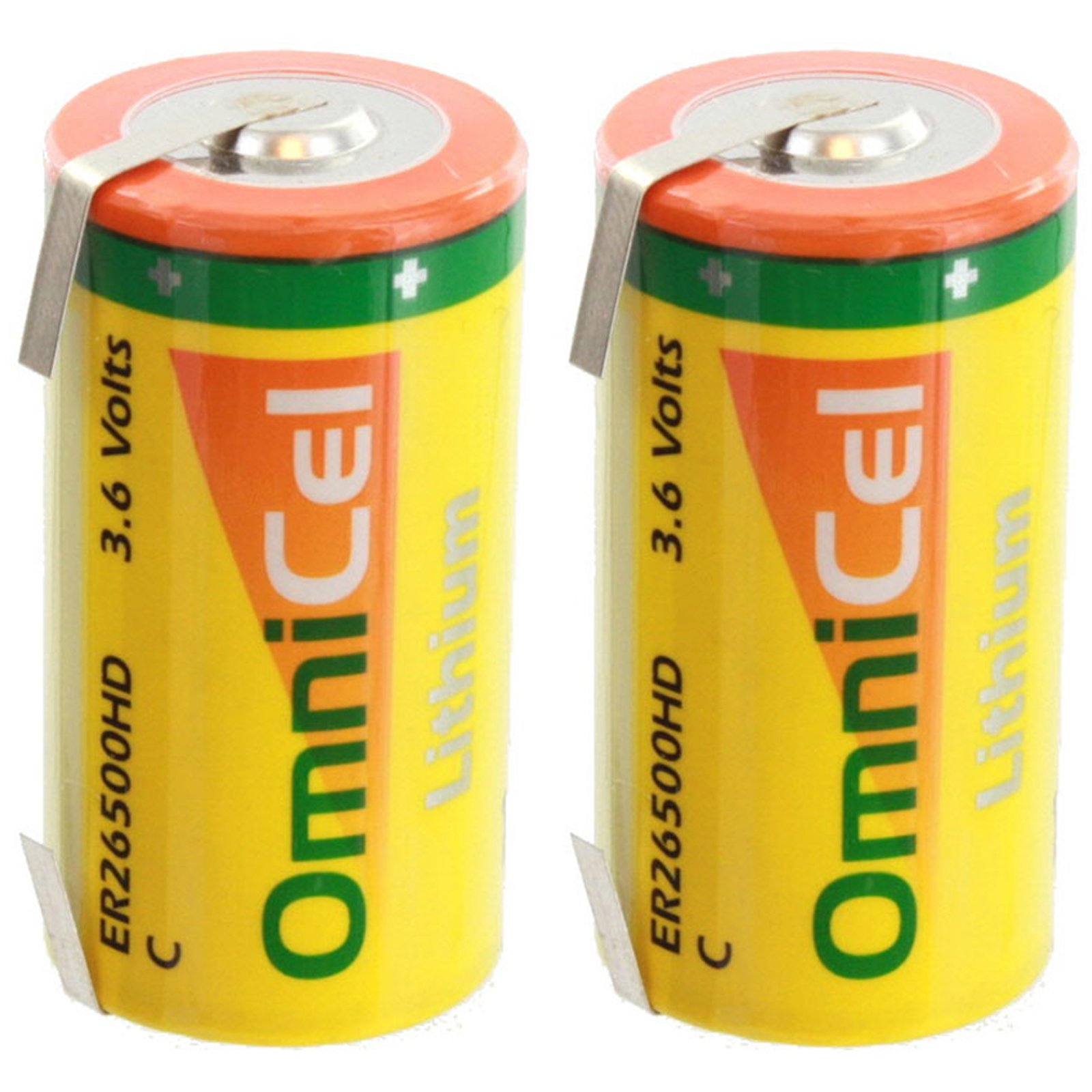 2x OmniCel ER26500HD 3.6V 6.5Ah Size C Lithium Battery with Tabs For Tracking Devices for Hunting Dogs, Carbon Monoxide Detectors, Intrusion Sensors, Invisible Fencing,Smart Utility Metering