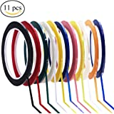 Supla Pack of 11 Colors 1/8 inch Wide Adhesive Graphic Fingerboard Tapes Chart Tapes Grid Marking Tapes Violins Tapes Art Tape Finger Markers,Glossy,1/8 inch wide X 217 feet long Per Roll