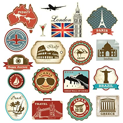 suitcase stickers Vintage