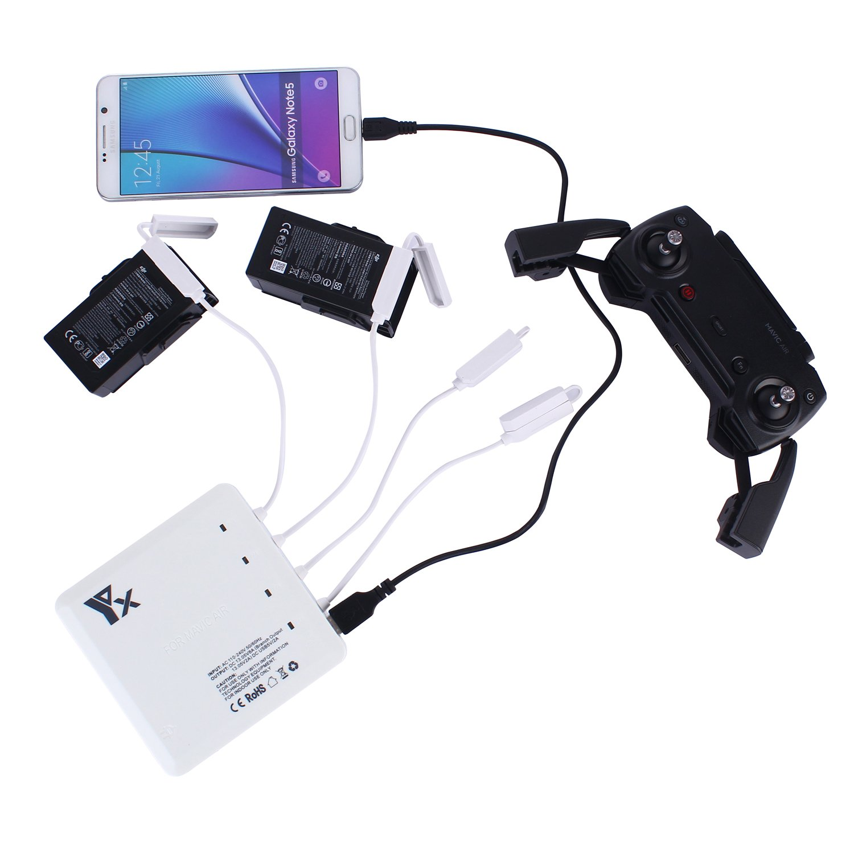 Rantow Mavic Air Cargador de batería inteligente Eje de carga de baterías múltiples paralelas y rápidas para DJI Mavic Air Drone- Carga de 4 baterías ...