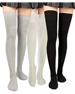 bcc0b3bc9 Women Thigh High Socks Knit Over Knee High Stockings Girls Tall Long Boot  Leg Warmers