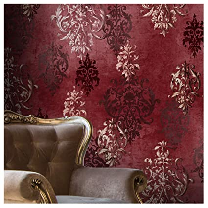 Jz111 Luxury Red Damask Wallpaper Rolls Stereo Deep Embossed Vinyl Wallpaper Bedroom Living Room Hotel Wall Decoration 20 8 X 393 7