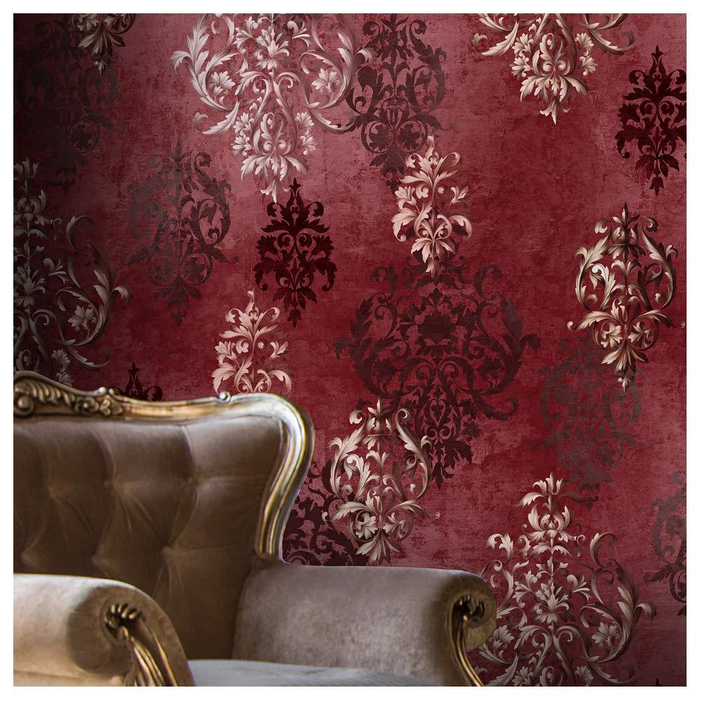 JZ111 Luxury Red Damask Wallpaper Rolls, Stereo Deep Embossed Vinyl Wallpaper Bedroom Living Room Hotel Wall Decoration 20.8'' x 393.7''