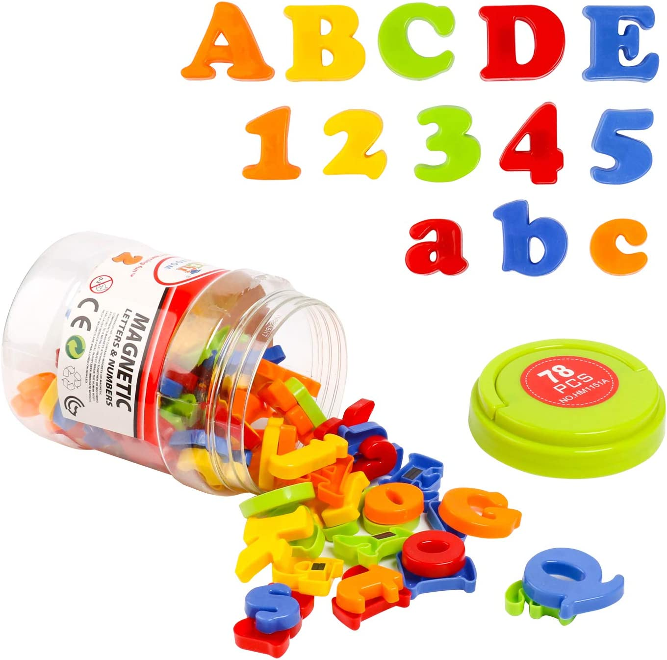 HOONEW Magnetic Letters Numbers Alphabet Plastic ABC 123 Fridge Magnets for Vocabulary Educational Toy Set Preschool Learning Spelling Counting Includes Uppercase Lowercase Math Symbols for Toddlers