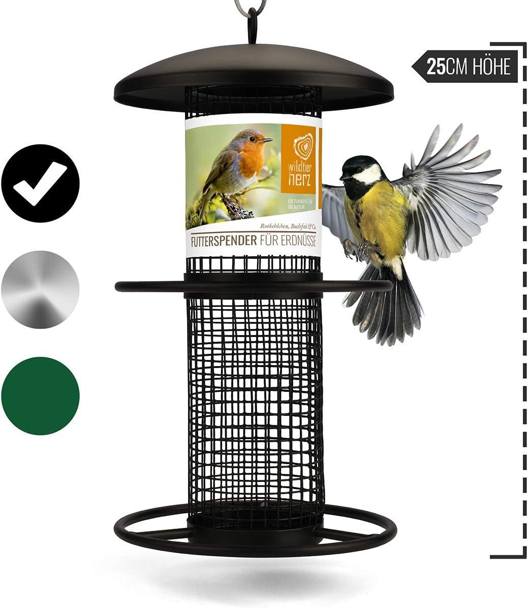 wildtier herz   Dispensador de comida para pájaros 25cm, columna de alimentación para comida de pájaros, comedero para alimentar aves silvestres