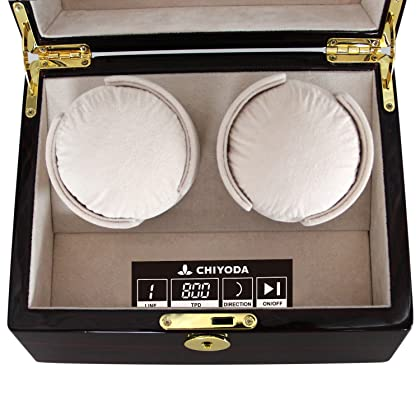 [Upgrades]CHIYODA Automatic Double Watch Winder with Two Quiet Mabuchi Motors, LCD Digital Touch Screen