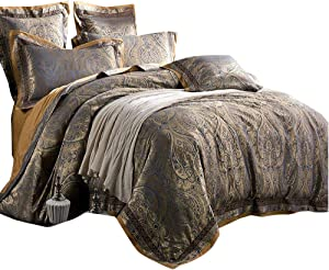 AMWAN Sateen Cotton Paisley Duvet Cover Set Queen Vintage Luxury Floral Bedding Set Full European Style 3 Piece Comforter Cover Set Noble Luxury Wedding Bedding Collection with 2 Pillow Shams