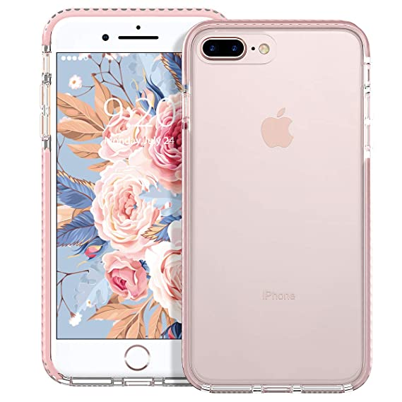 huge discount eda51 79735 MATEPROX iPhone 8 Plus Case iPhone 7 Plus Case Clear Shield Heavy Duty  Anti-Yellow Anti-Scratch Shockproof Cover Compatible with iPhone 8p/7p  (Pink)