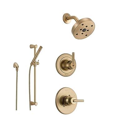 Delta Trinsic Champagne Bronze Shower System With Normal Shower Handle,  3 Setting Diverter,