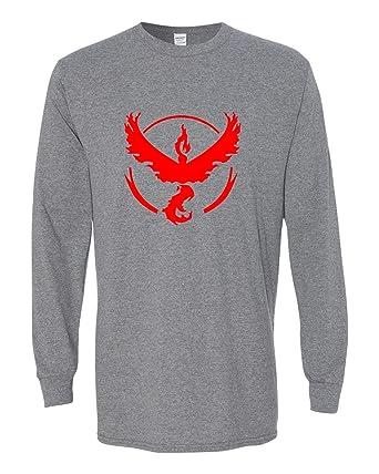 6da8f789b Pokemon Go Gym Team Valor Red Long Sleeve Tee T-Shirt Dark Grey X Small