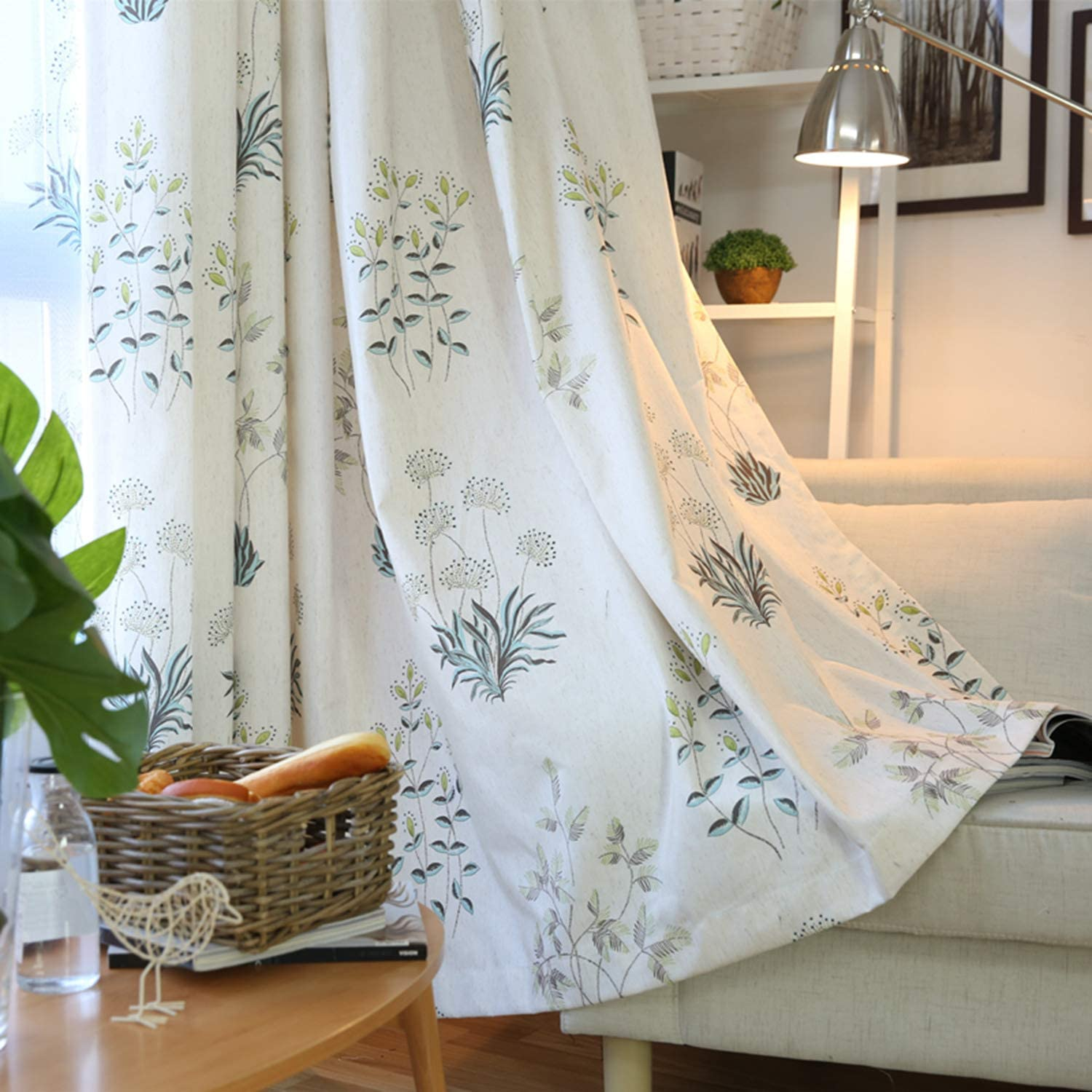 Sunian Print Curtains for Bedroom and Living Room, Small Windows,Curtain  Grommet Top-2 Panels W52 x L96 Plants
