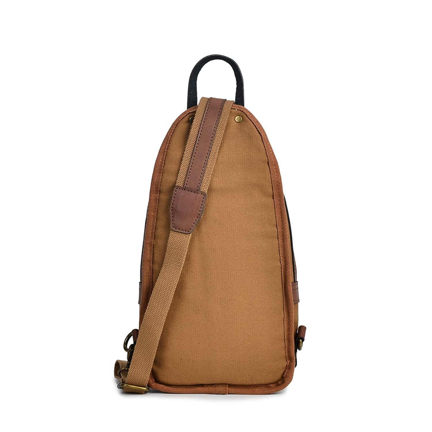 Brown KEROUSIDEN Mens Shoulder Bag Casual Sports Chest Bag Canvas Fiber Retro Leather Messenger Bag 20cm10cm35cm