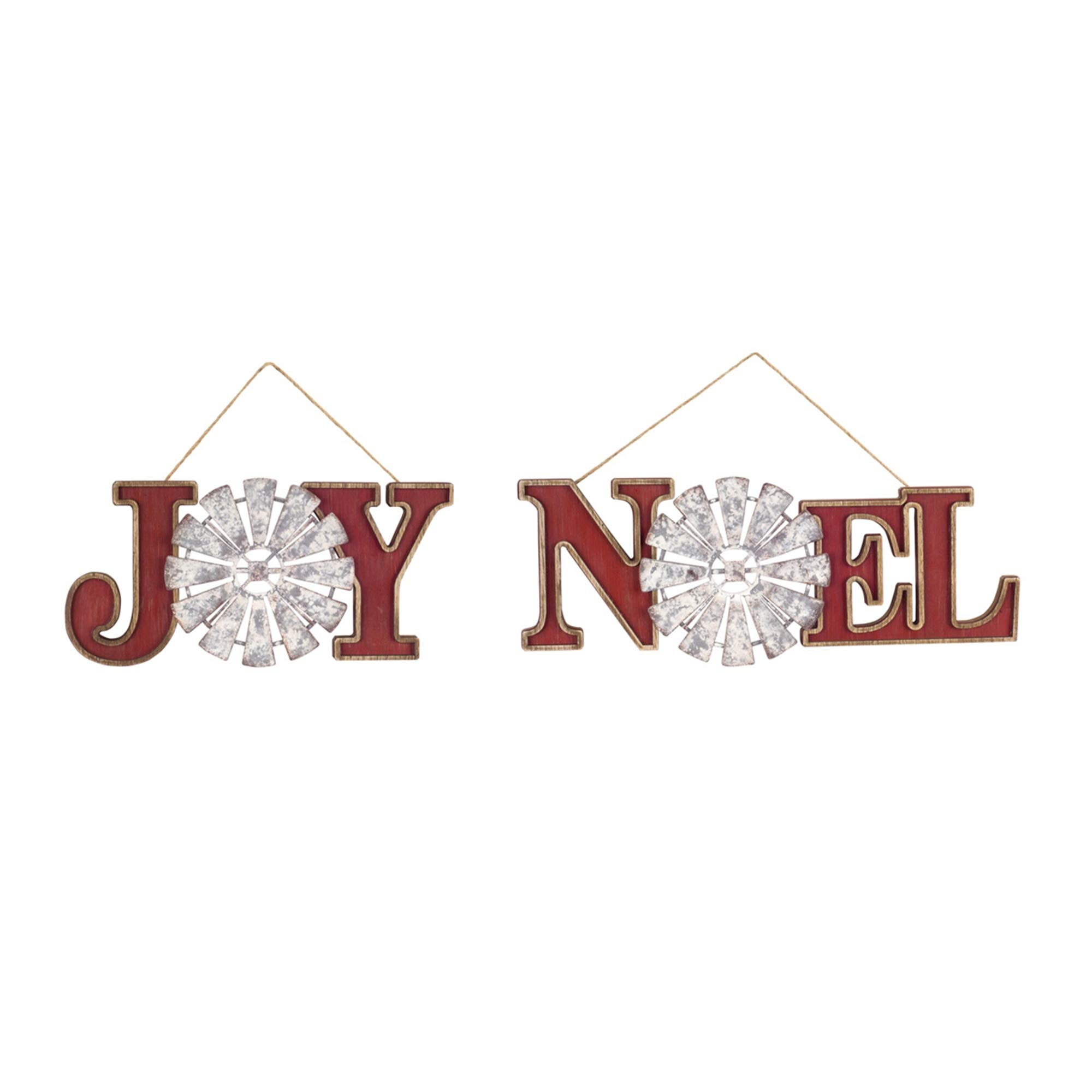 Diva At Home Pack of 6 White and Red Joy and Noel Windmill Hanging Ornaments 13''