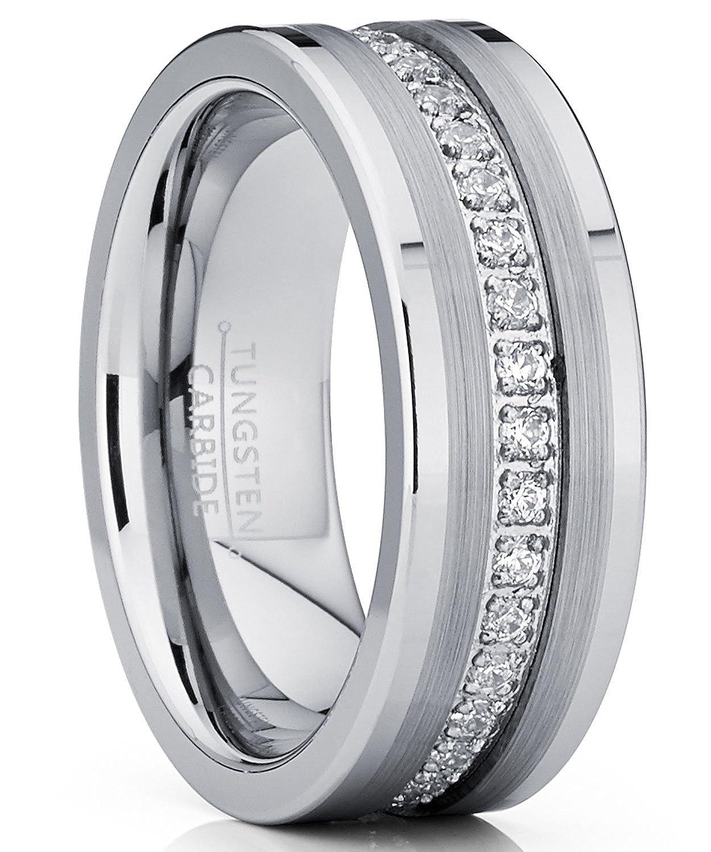 3ebdef0bdd4a1 Metal Masters Co. Tungsten Carbide Wedding Band Eternity Ring, Cubic ...